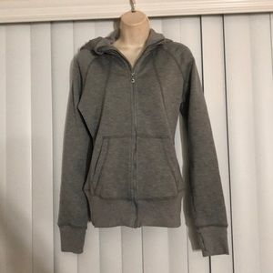 OAKLEY Heather Gray Fitted Zip Hoodie Small